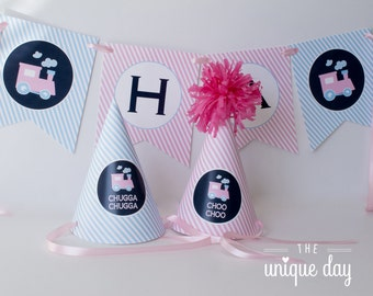 Train Party Hat - Train Birthday Party - choo choo train - train themed - Printable - DIY // TRAG - 08