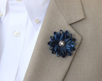 Blue Lapel Flower for Men, Mens Lapel Flower, Mens Flower Lapel Pin, Dark Blue Boutonniere, Gifts for Men, Men's Lapel Pin, Lapel Flower Pin