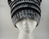Kitty Cat Ears Beanie - Black Grey Gray Tabby Stripes with Pink Ears