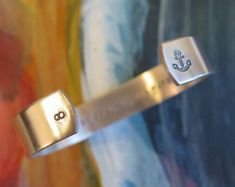 Message Bracelet - Custom Bracelet - Personalized Bracelet Cuff - Custom Hand Stamped - Your Name, Quote - Personalized Stamped Bracelet