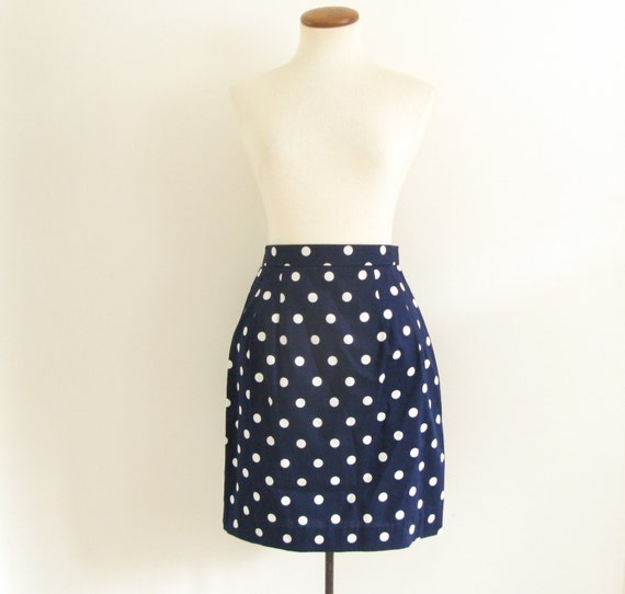 blue white polka dot skirt vintage 80s navy nautical