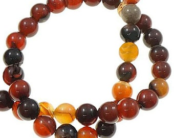 20 Agate Beads in Shades of Autumn -10mm - BD650