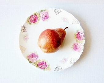 Vintage Malmaison Bavaria Plate - Decorative Edwardian Era China - Romantic Shabby Chic Decor - Victorian Roses - J&C Hallmark Porcelain