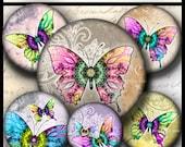 INSTANT DOWNLOAD Mandala Butterflies (720)4x6 1 inch Bottle Cap Images Printable Digital Collage Sheet bottlecaps glass tile cabochon images