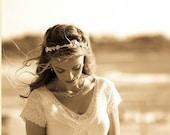 BRIDAL FLOWER CROWN Wedding Lace Headband, Floral Bridal Hair Wreath, Lace Hairpiece Bridal Halo, Woodland Wedding Floral crown, Miriam
