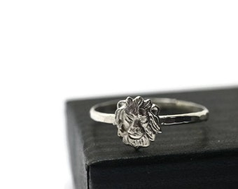 Sterling Silver Lion Ring, Handmade Sterling Silver Ring, Animal Ring