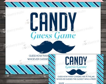 Little Man Baby Shower Candy Guessing Game - Mustache Baby Shower Game - Instant Download - Boy Baby Shower Games Printable - Blue Baby