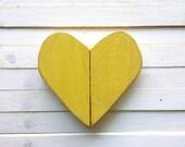 Distressed wooden yellow heart/ heart wall hanging/ Love sign/ pallet art/ love heart