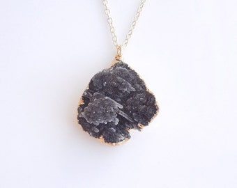 Long Layered Druzy Necklace - Black Drusy - OOAK Jewelry