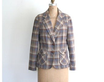 70s muted plaid ladies professor blazer - wide lapel / 1970s preppy jacket - campus style / prep - braided leather buttons