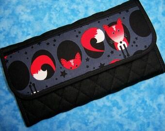 Women Wallet Clutch Wallet Fox Fabric Wallet Cute Vegan Wallet Large Wallet Ladies Wallet Long Wallet Checkbook Cloth Wallet Velcro