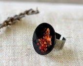 Black statement ring - bright cocktail ring - enamel black multicolor ring - artisan jewelry OOAK by Alery