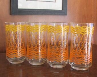 Vintage Retro Mod Orange Libbey Squiggle Glasses - set of 4 - Serving - Entertaining - Tumblers - Glassware