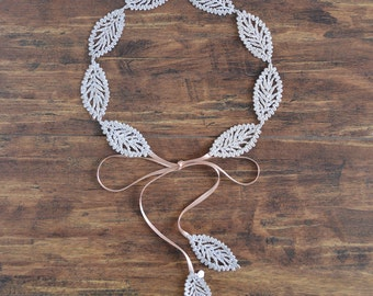 Goddess Leaf - bridal golden leaves crown, simple leaf wedding headpiece. Ready to ship