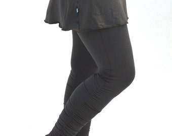 Small Yoga Leggings Charcoal Gray Shirred Ankle-Length Ruched Long Tights with Mini Skirt