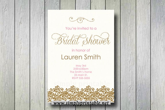 Bridal Shower Invite Gold & Pink, Gold Bridal Shower Invitation, Communion Digital Printable