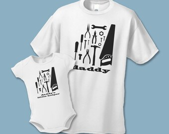 Father's Day Gift - Builder Dad and Daddy's Helper T-Shirts - Matching Father Son Shirts  (Set of 2) - Daddy's Little Helper - Construction