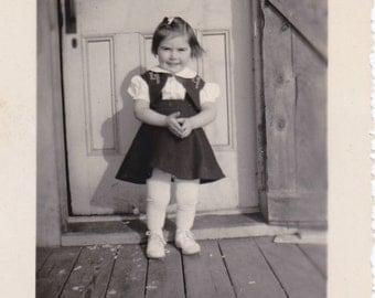 Sweet, Darling Girl- 1940s Vintage Photograph- Posing on Porch- Cute Child- Found Photo- Vernacular Snapshot- Paper Ephemera