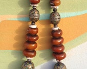 800 gr. Huge Berber Henna Resin Beads Necklace with Metal pieces, old shells, Enamel Eggbeads Morocco
