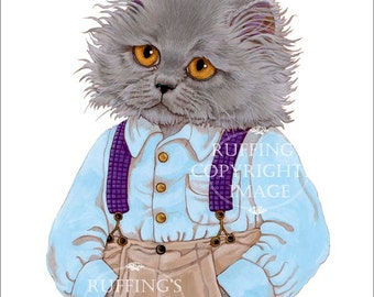 Blue Persian Gray Kitty Kitten Cat Cute Anthropomorphic Giclee Art Print Herman by Max Bailey 8x10 inch Borderless Image on Art Paper