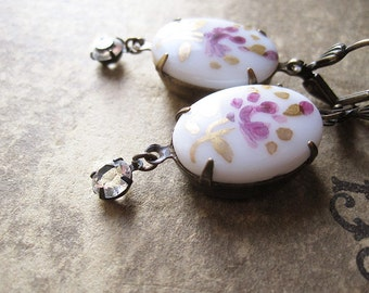 Violet Floral Assemblage Earrings / Vintage Garden Chic Jewelry / Sparkly Rhinestone Earrings