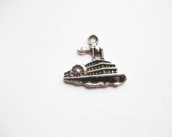 6 Steam Boat Charms in Silver Tone - C2050