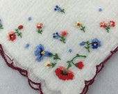 Vintage Handkerchief Hanky embroidered flowers cotton edging with Marsala thread edging Peach Blue Red Yellow embroidery flowers