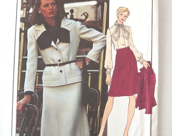 1970s Givenchy Jacket, Skirt & Blouse Pattern, Vogue Paris Original 2923, Womens Suit Sewing Pattern, Misses Size 12 Bust 34