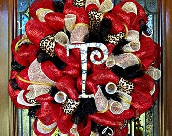 Deco Mesh Red with Leopard Wreath