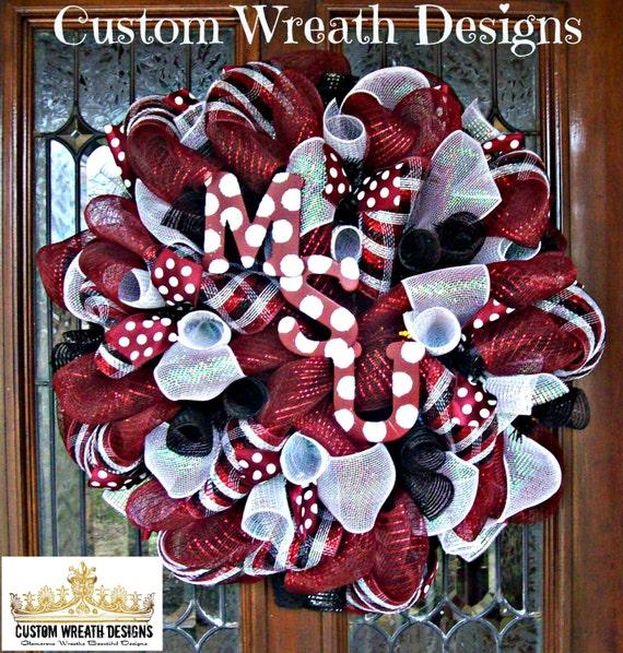 Deco Mesh Mississippi State University Wreath