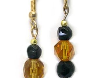 Handmade Beaded Pittsburgh Steelers Earrings, old vintage bead earrings, Pittsburgh Steeler colors, yellow black earrings, dangle earrings