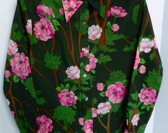 Women's Pink and Green Semi Sheer Floral Polyester Blouse Button Down Shirt with Pointy Collar Flowers and Trees