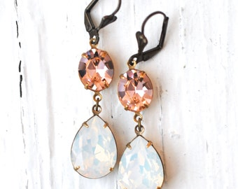 Opal Earrings Swarovski Crystal Peach White Opal Rhinestone Bridesmaid Earrings Post Drop Dangle or Clip on Duchess Hourglass Mashugana