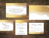 Printable Golden Wedding Invitation Suite | Metallic Invitations, Gold Invites, Wedding Invitation Set, Gold