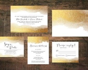 Printable Golden Wedding Invitation Suite   Metallic Invitations, Gold Invites, Wedding Invitation Set, Gold