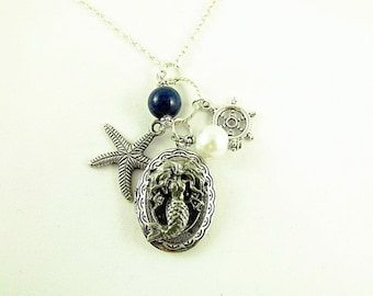Silver Locket Necklace,   Oval Mermaid Locket With Pearl and Lapis Bead and Charms,  Womens Gift  Handmade
