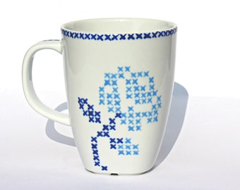 Coffee Mug, Tea Mug, Cross Stitch Design, Hand Painted Porcelain Cup, Gift Idea For Tea & Coffee Lovers, Blue Rose Design, Ready to Ship
