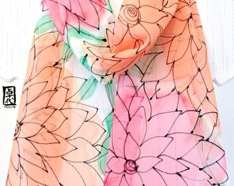 Hand painted Silk scarf, Christmas Gift, Orange and Pink Silk Chiffon Scarf, Mango and Watermelon Gelato Scarf, 11x60 inches, Made to order