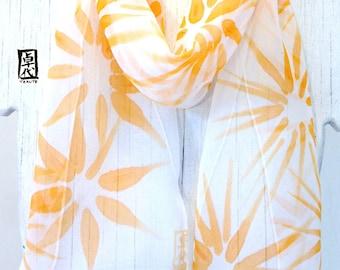 Silk Scarf Handpainted, Summer Scarf, Silk Chiffon Scarf, Light Orange Silk Scarf, Mandarine Orange Hanabi Flowers Scarf, 7x52 inches.