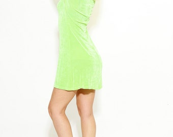 Vintage 90s Grunge Neon Green Body Con Mini Dress Size Medium Made in USA Lycra Spandex Dress - Red 3 #74