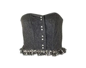 Vintage 1980s Black Lace Ruched Bustier. U.K Size 36 B/C Cup.
