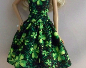 Handmade Barbie Doll Clothes- St. Patrick's Black with Green Clover Print Barbie Dress