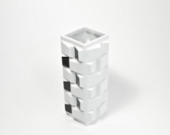 Mid Century Glazed Black and White Porcelain Vase by Schwarzenhammer