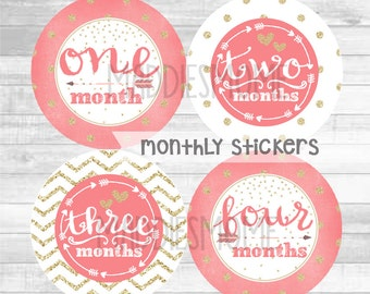 Monthly Baby Girl Stickers Baby Month Stickers Monthly Bodysuit Monthly Stickers Glitter Dots Tribal Arrows (Coral and Gold)
