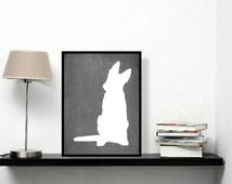 Modern German Shepherd Art Print, Chalkboard, German Shepherd Silhouette, Dog lover Gift