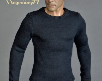 1/6th scale black long sleeve T-shirt for: action figures and male fashion dolls