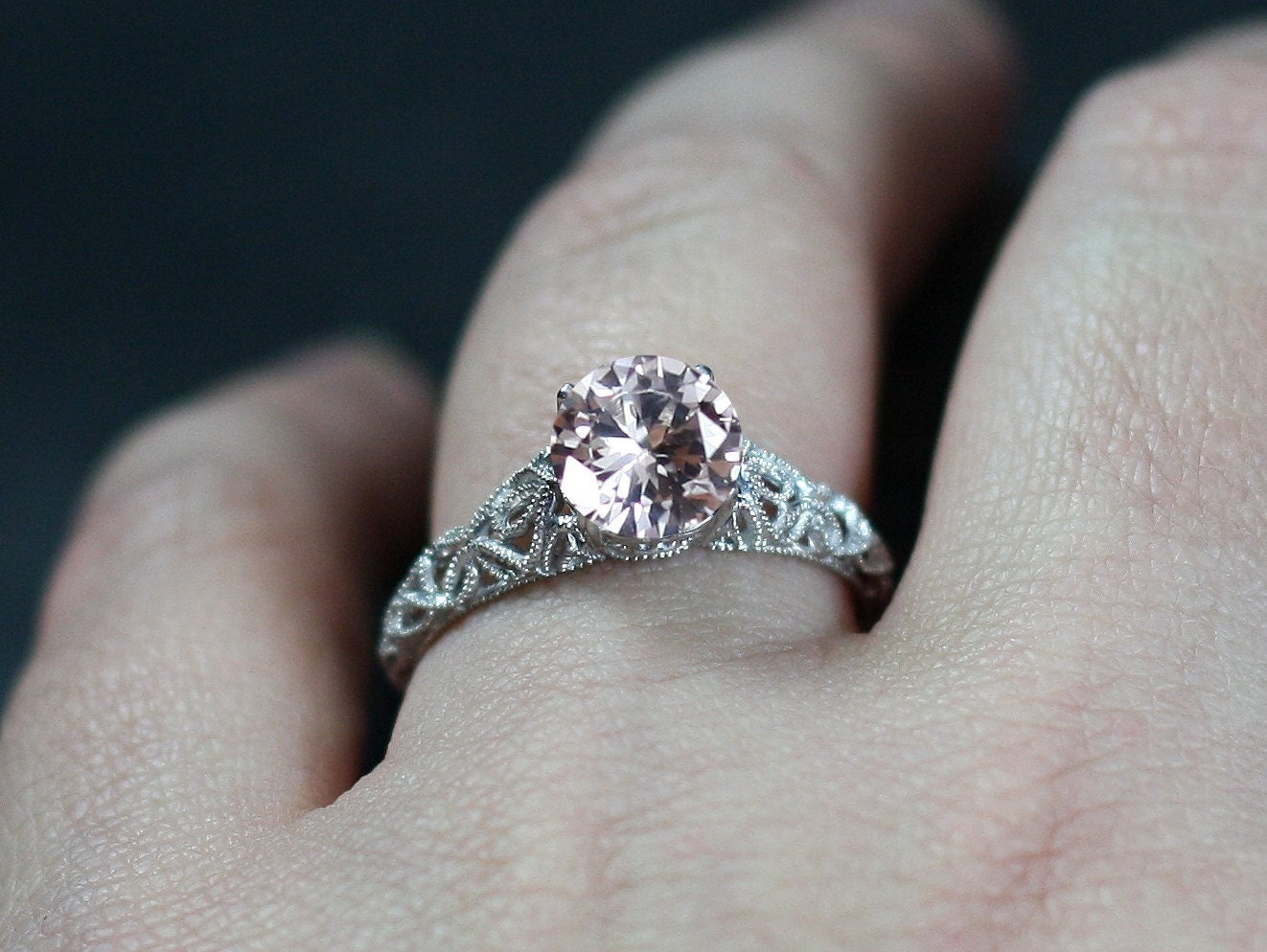 vintage white sapphire engagement ring antique style filigree