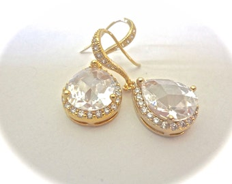 Cubic Zirconia earrings - Clear - Teardrops - 14k gold over Sterling silver ear wires - LUX - Bridal jewelry - High end - Bridesmaids gifts