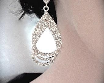 Rhinestone earrings ~ Teardrops ~ Sterling silver posts ~ Triple Layer ~ Large ~ Crystal rhinestone, Statement earrings ~ Bridal jewelry ~