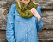 Crochet Chunky Cowl Scarf with Button, Wool Blend Circle Scarf in Cilantro / Olive Green - Valentines Gift